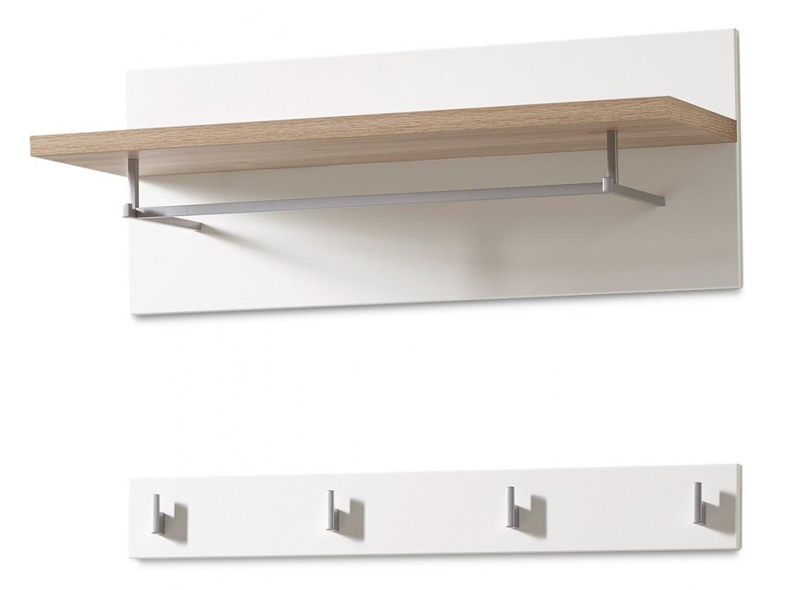 Vešiak GW-Oslo - Vešiakový panel, 1x police, 4xháčik (biela,dub sanremo)