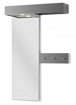 Vešiak GW-Turin - Vešiakový panel so zrkadlom a LED osvetl. (antracit)
