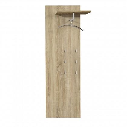 Vešiak Rhein - Vešiakový panel, 1x police, 6x háčik (dub)