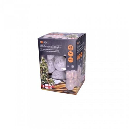 Vianočné osvetlenie Solight 1V48, bavlnené gule, teplá biela, 3m