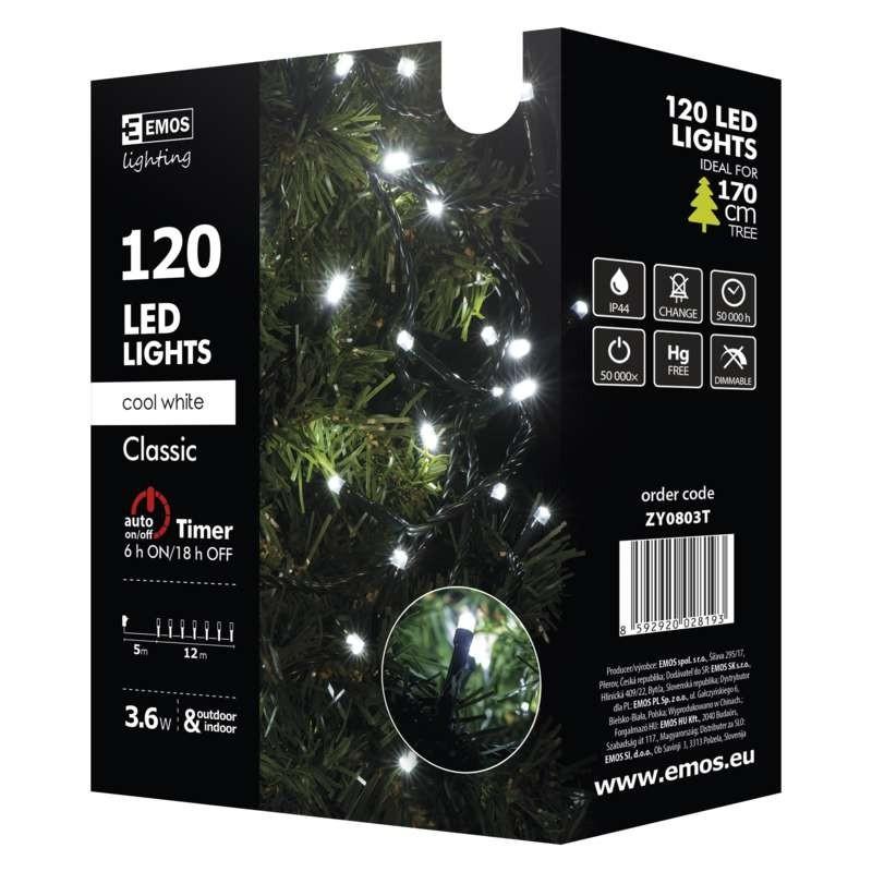 Vianočné osvetlenie Vianočné osvetlenie Emos ZY0803T, studená biela, 12 m, časovač