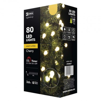 Vianočné osvetlenie Vianočné osvetlenie Emos ZY0902T, guľôčky, teplá biela, 8 m