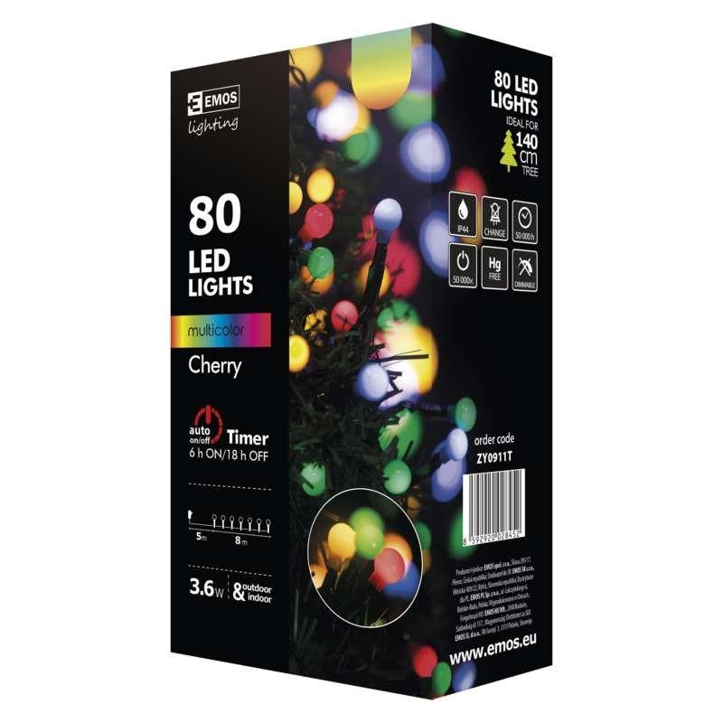 Vianočné osvetlenie Vianočné osvetlenie Emos ZY0911T, guľôčky, farebná, časovač