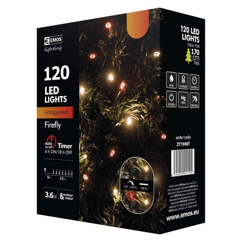 Vianočné osvetlenie Vianočné osvetlenie Emos ZY1908T, jantárová + červená, 12 m