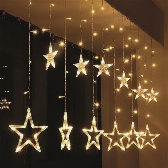 Vianočné osvetlenie Vianočný záves Solight 1V227,LED,hviezdy,1,8m,3xAA,USB