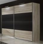 Vicenza - šatníková skriňa 5, 2x posuvné dvere (dub/lava čierna)