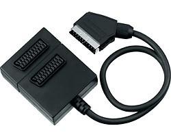 Video káble + konektory Adapter SCART-2xSCART F, kabel 0,5m