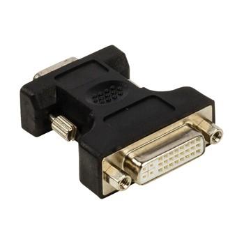 Video káble + konektory Adaptér VGA–DVI,zástrčka VGA –24+5pinová zásuvka DVI-I,čie