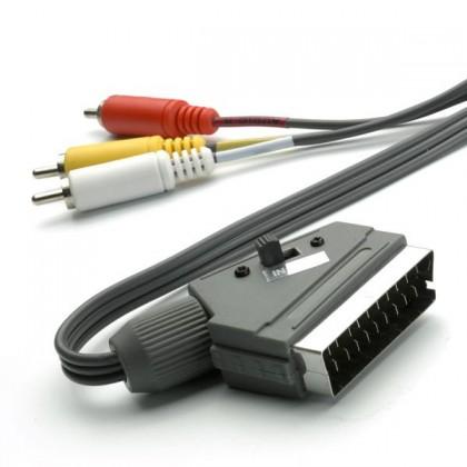 Video káble + konektory Audio - video kábel Vivanco 30206 scart / 3x cinch 2m
