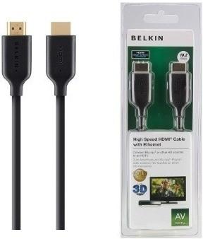 Video káble + konektory  Belkin kabel HDMI HighSpeed s Ethernetem, zlacený - 2m
