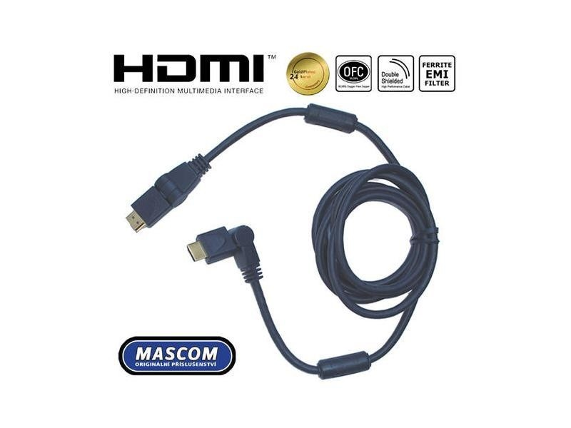 Video káble + konektory HDMI 1.4 High Speed,4K,ARC,Ethernet,Rotační konektory,délka5m