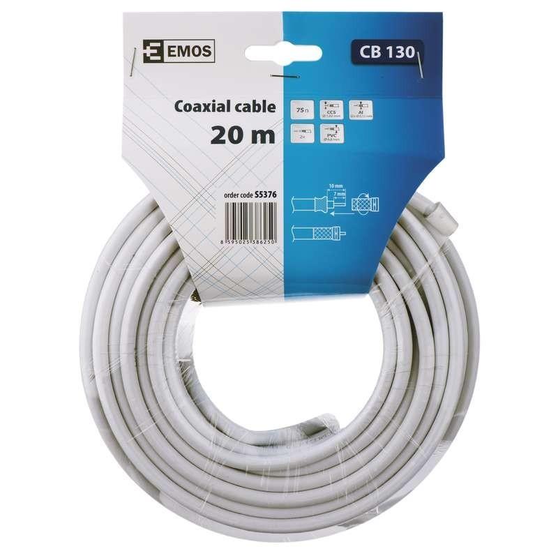 Video káble + konektory Koaxiálny kábel Emos S537, 20m
