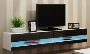 Vigo - TV komoda 180 otvorená (biela mat/čierna VL)