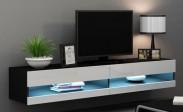 Vigo - TV komoda 180 otvorená (čierna mat/biela VL)