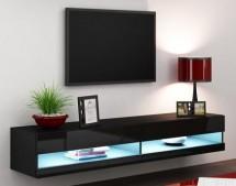 Vigo - TV komoda 180 otvorená (čierna mat/čierna VL)
