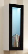 Vigo - Vitrína závesná, 1x dvere sklo (biela mat/čierna VL)