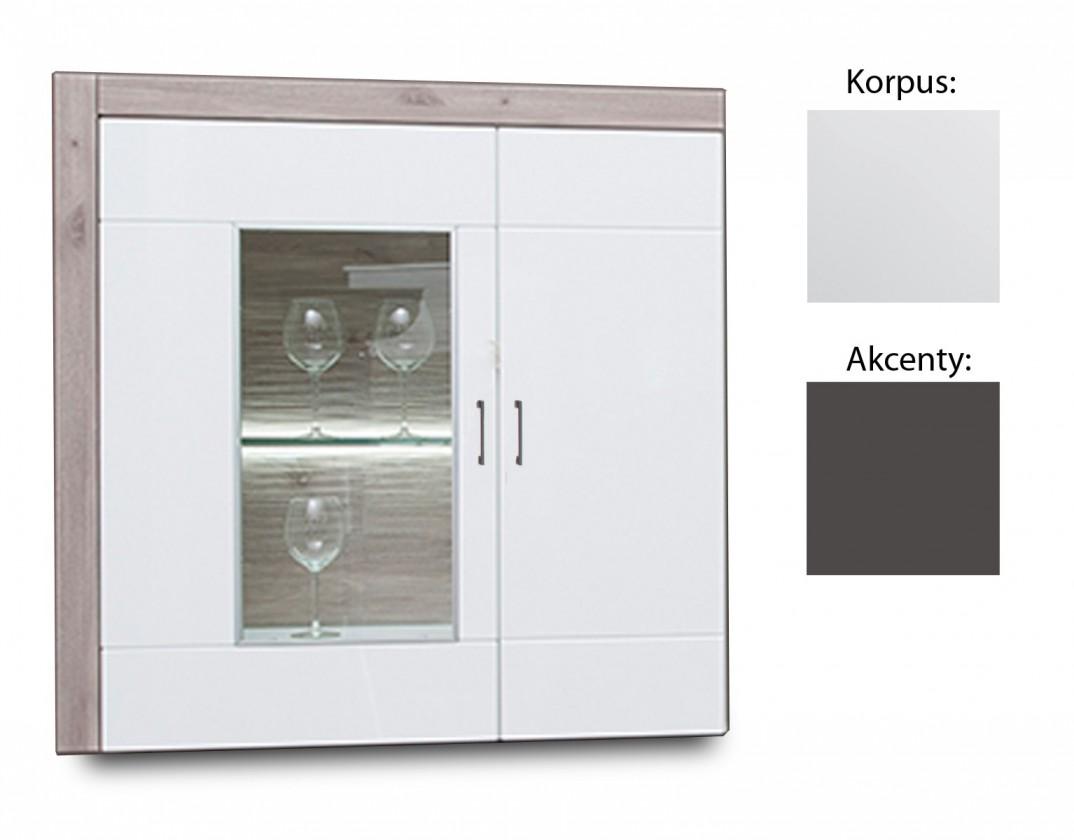 Vitrína Broke Typ 22 (biela arctic / biela arctic vysoký lesk / grafit)