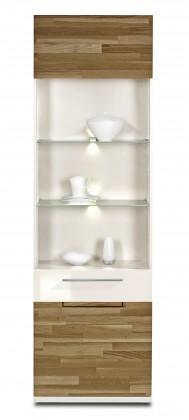 Vitrína Feel - Vitrína, 1x dvere lavé (biela/divoký buk/biela)
