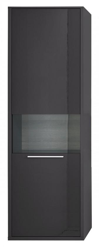 Vitrína Gamble - Vitrína 570128L (antracit/antracit lesk/panel dub sand)