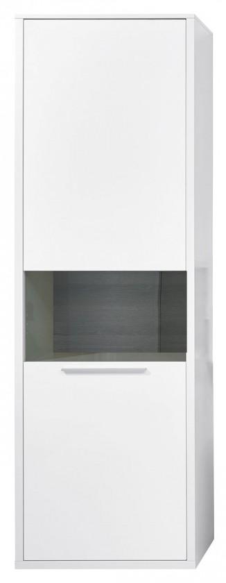 Vitrína Gamble - Vitrína 570727R (biela/biela lesk/panel dub tmavý)