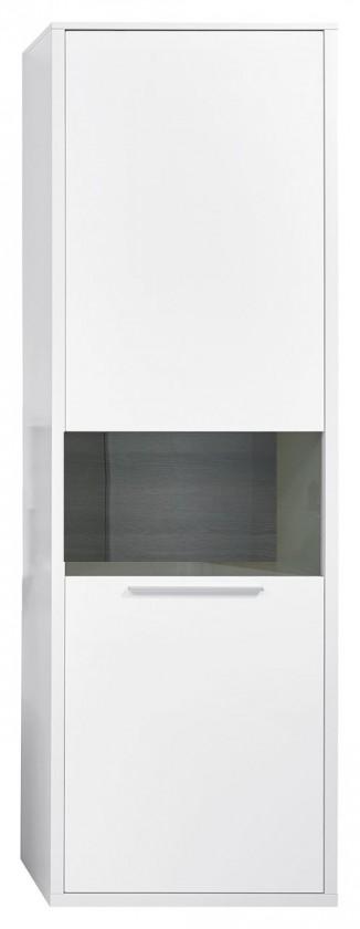 Vitrína Gamble - Vitrína ľavá 570727L (biela/biela lesk/panel dub tmavý)