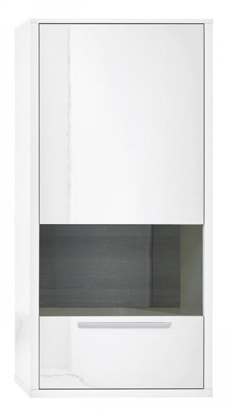 Vitrína Gamble - Závesná vitrína 570748R (biela/biela lesk/panel dub tm)