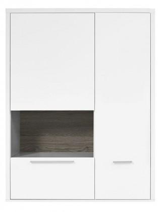 Vitrína Gamble - Závesná vitrína 570750L (biela/biela lesk/panel dub tm)