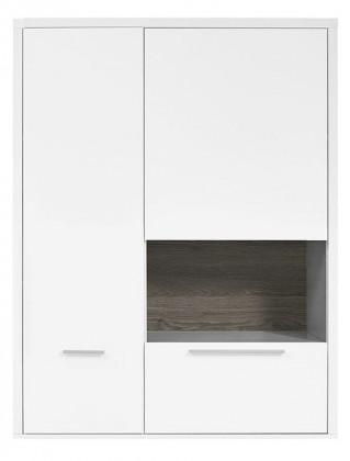 Vitrína Gamble - Závesná vitrína 570750R (biela/biela lesk/panel dub tm)