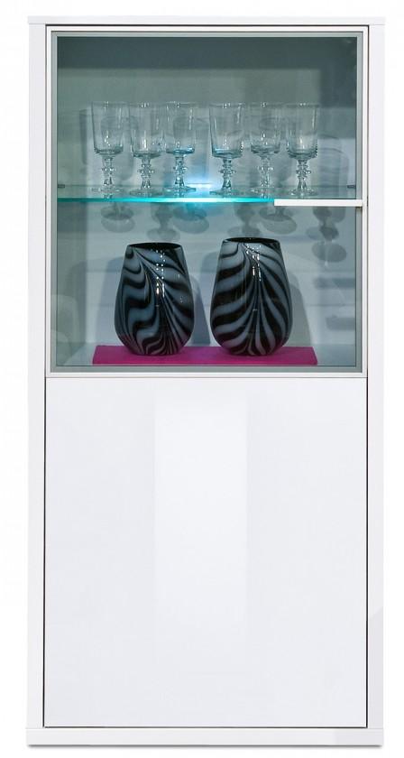 Vitrína Game plus - vitrína, 134 cm (biela/biela lak HG)