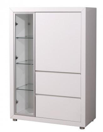 Vitrína GW-Fino - Vitrína,2x dvere,2x šuplík,pravá (biela)