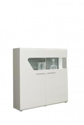 Vitrína Kando-KANV52L(P45 - biela / dub pieskový / biely lesk )