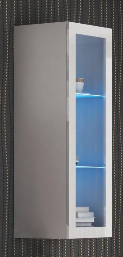 Vitrína Livo - Závesná vitrína 120 (bílá mat/bílá lesk)