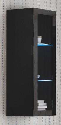 Vitrína Livo - Závesná vitrína 120 (černá mat/černá lesk)
