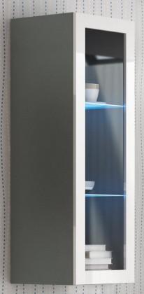 Vitrína Livo - Závesná vitrína 120 (šedá mat/bílá lesk)