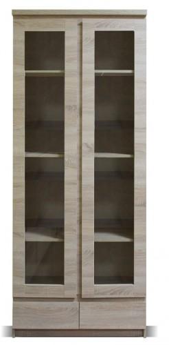Vitrína Lozano (2x dvere, 2x zásuvka, sonoma)