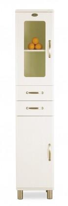 Vitrína Malibu - Vitrína (biela, 1x sklenené, 1x plné dvere, 2x zásuvka)