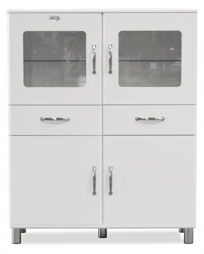 Vitrína Malibu - vitrína (biela, 2x dvere,2x sklenené dvere,2x zásuvka)