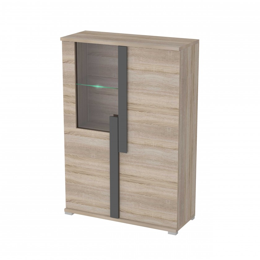 Vitrína Markus - Vitrína, malá, sklo, 2x dvere, LED (dub sonoma)