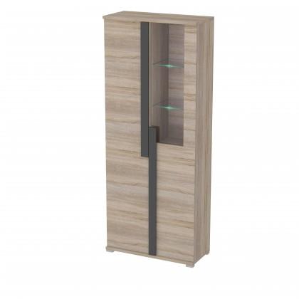 Vitrína Markus - Vitrína, presklená, 2x dvere, 3x police (dub sonoma)