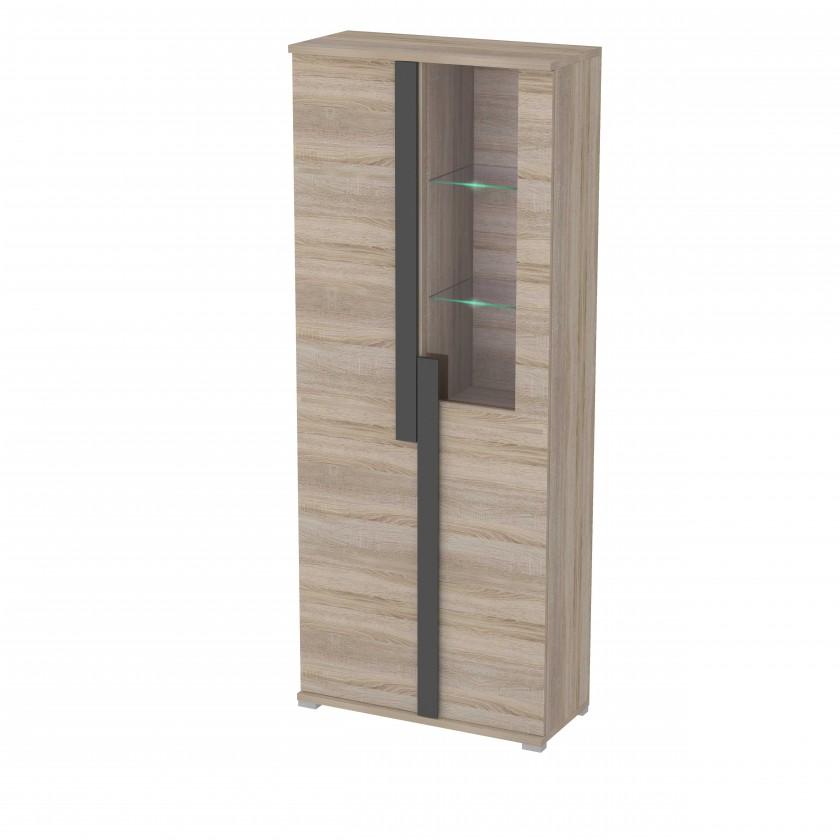 Vitrína Markus - Vitrína, sklo, 2x dvere, 3x police, LED (dub sonoma)