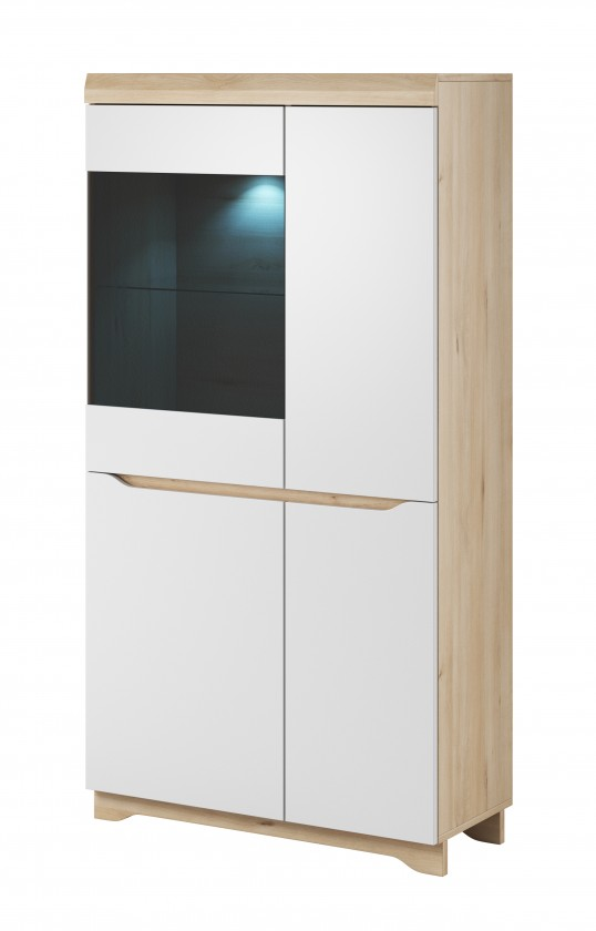 Vitrína Obývacia vitrína Avallon - nízka, ľavá (buk ibsen/biela)