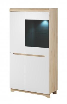 Vitrína Obývacia vitrína Avallon - nízka, pravá (buk ibsen/biela)