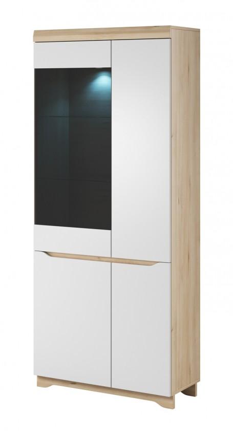 Vitrína Obývacia vitrína Avallon - vysoká, ľavá (buk ibsen/biela)