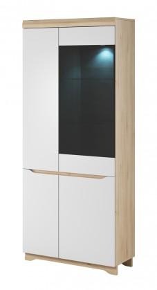 Vitrína Obývacia vitrína Avallon - vysoká, pravá (buk ibsen/biela)