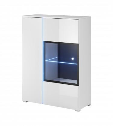 Vitrína Obývačková vitrína Simple (biela, biela lesk)