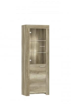 Vitrína Sky - Vitrína, sklenená, 1x dvere, 3x police, ABS (country sivá)