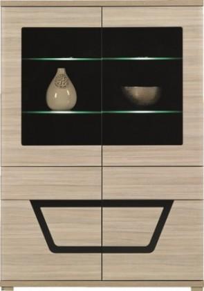 Vitrína Tes - Vitrína, 2x dvere, 3x polica, LED (brest, korpus a fronty)