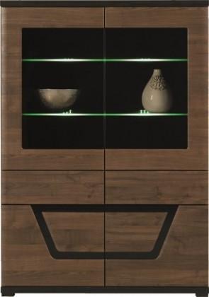 Vitrína Tes - Vitrína, 2x dvere, 3x polica, LED (ořech, korpus a fronty)