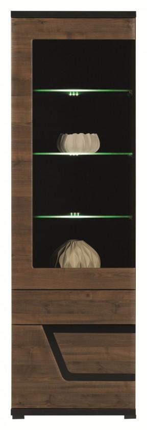 Vitrína Tes - Vitrína ľavá, dvere, police, LED (ořech, korpus a fronty)