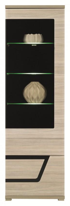 Vitrína Tes - Vitrína pravá, dvere, police, LED (brest, korpus a fronty)